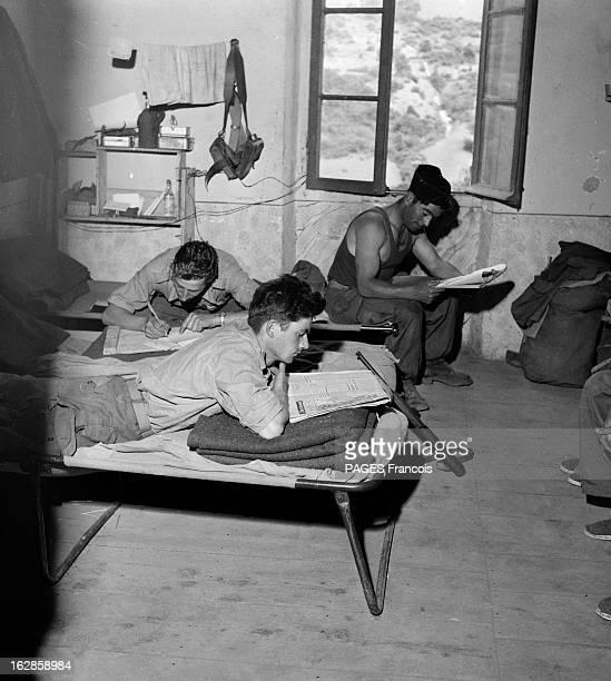 Palestro Massacre Le 23 mai 1956 deux soldats lisent le journal et un autre écrit une lettre dans leur chambre à Beni Amrane entre Menouville et...
