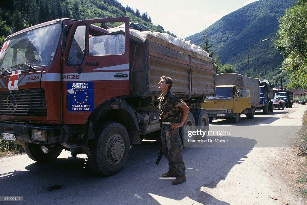 War of BosniaHerzegovina Convoy of the European Community on the road from Split to Tuzla September 1992