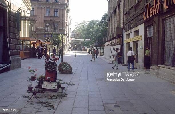 War of BosniaHerzegovina Flowered places where fall the victims in a street of Sarajevo September 1992