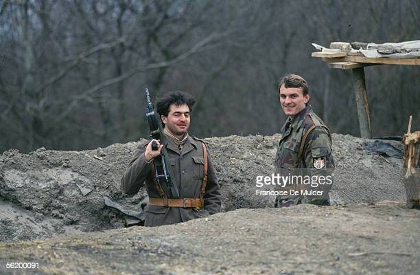 War of BosniaHerzegovina Serbian trench in the front of Osijek March 1992