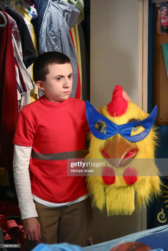 THE MIDDLE - 'War of the Hecks' - The ultimate prank battle is on between brother and sister when Sue discovers that Axl stole the high school's Thundering Hens mascot head over a year ago, forcing Sue to wear an embarrassing chicken head in her role as the school mascot. Meanwhile, a friendless Dr. Goodwin tries to make friends with a reluctant Frankie and invites her to accompany him to after-work social gatherings, Frankie agrees to attempt to find her dog Colin Firth's owner if Mike tries - and fails - to make friends with him; and Brick tries to muster some interest in a recommended book on Debbie Reynolds, on 'The Middle,' WEDNESDAY, JANUARY 15 (8:00-8:30 p.m., ET) on the ABC Television Network. SHAFFER