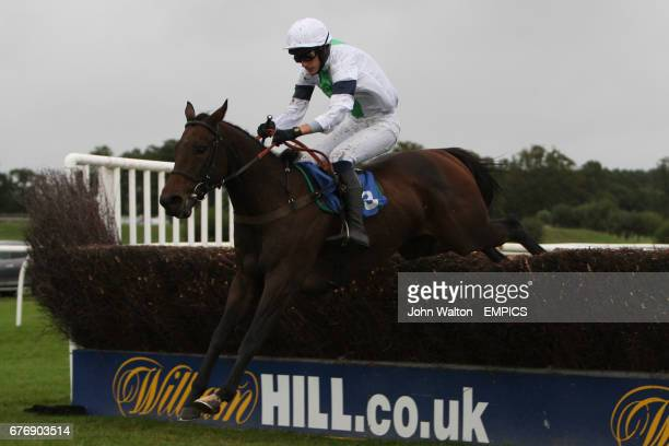 War Party ridden by Tom Weston jumps the fence during the Betfair iPhone Android App Handicap Chase