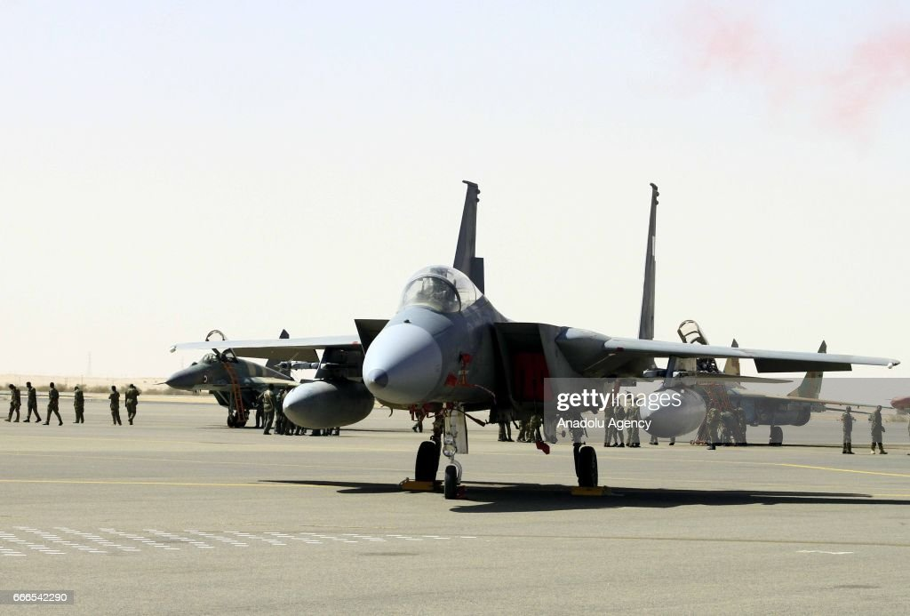 War planes are seen before they perform during the joint Sudan and Saudi Arabia air force drill at the Marwa air base which is 350 km south of Khartoum, Sudan on April 9, 2017.