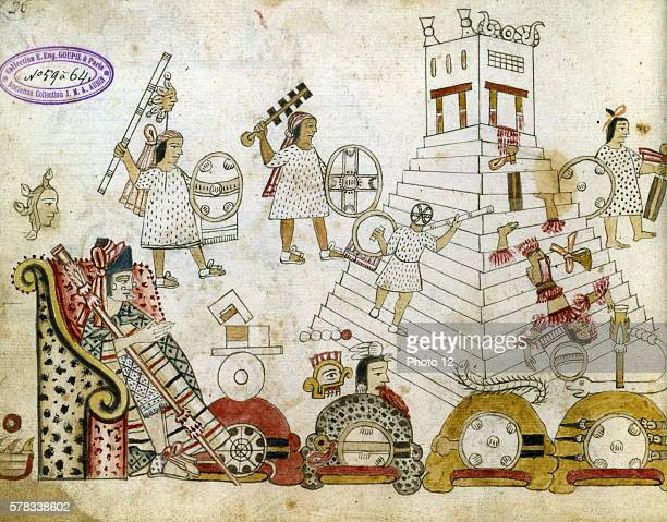 War prisoners sacrified to the Sun god Aztec manuscript after 1519 Paris Bibliotheque Nationale de France
