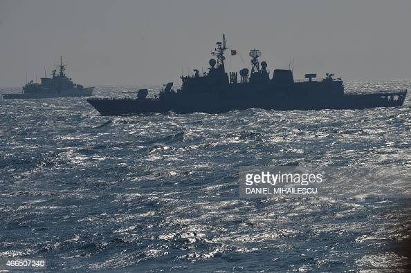 War ships of the NATO Standing Maritime Group2 take part in a military drill on the Black Sea 60km from Constanta city March 16 2015 NATO Standing...