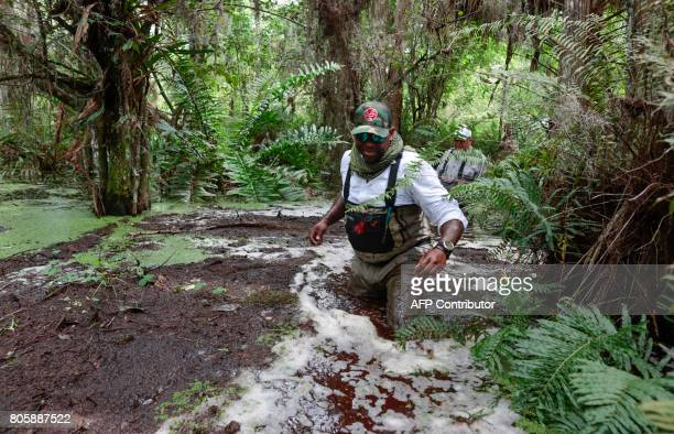 War veteran Chad Brown walks in a swamp slog during a training with a Soul River group at the Arthur R Marshall Loxahatchee National Wildlife Refugee...