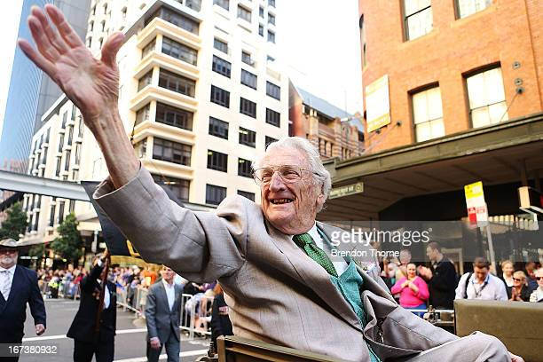 A war veteran makes his way down Bathurst Street during the ANZAC Day parade on April 25 2013 in Sydney Australia Veterans dignitaries and members of...