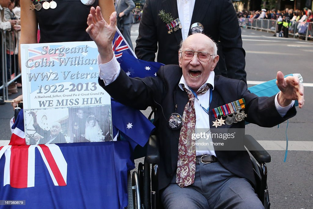 A war veteran makes his way down Bathurst Street during the ANZAC Day parade on April 25, 2013 in Sydney, Australia. Veterans, dignitaries and members of the public today marked the 98th anniversary of ANZAC (Australia New Zealand Army Corps) Day, April 25, 1915 when allied First World War forces landed on the Gallipoli Peninsula. A public holiday in both Australia and New Zealand, commemoration events are held across both countries in remembrance of those who fought and died in all wars.