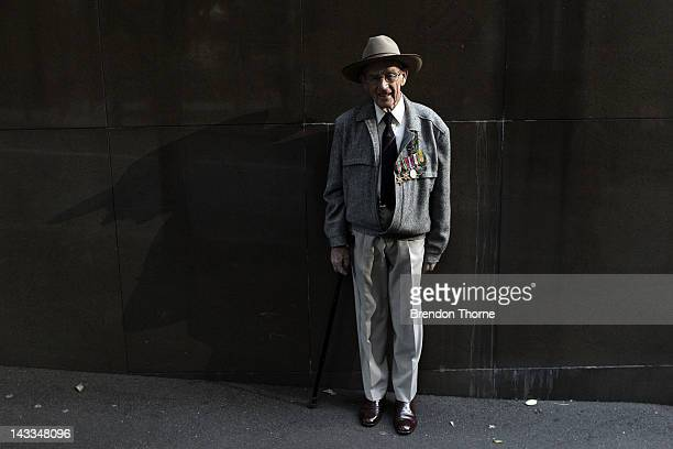 A war veteran poses prior to the ANZAC Day parade on April 25 2012 in Sydney Australia Veterans dignitaries and members of the public today marked...