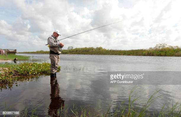 War veteran Terry Edelman casts a line while relaxing at the Arthur R Marshall Loxahatchee National Wildlife Refugee in Boynton Beach Florida on June...
