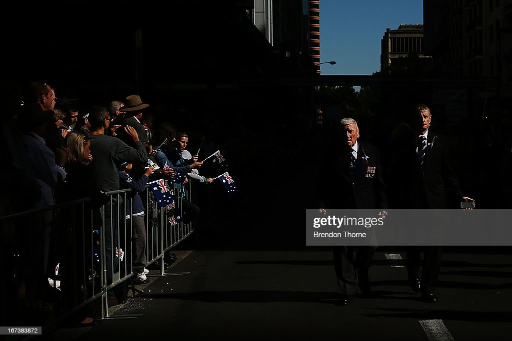 War veterans make their way down Bathurst Street during the ANZAC Day parade on April 25, 2013 in Sydney, Australia. Veterans, dignitaries and members of the public today marked the 98th anniversary of ANZAC (Australia New Zealand Army Corps) Day, April 25, 1915 when allied First World War forces landed on the Gallipoli Peninsula. A public holiday in both Australia and New Zealand, commemoration events are held across both countries in remembrance of those who fought and died in all wars.