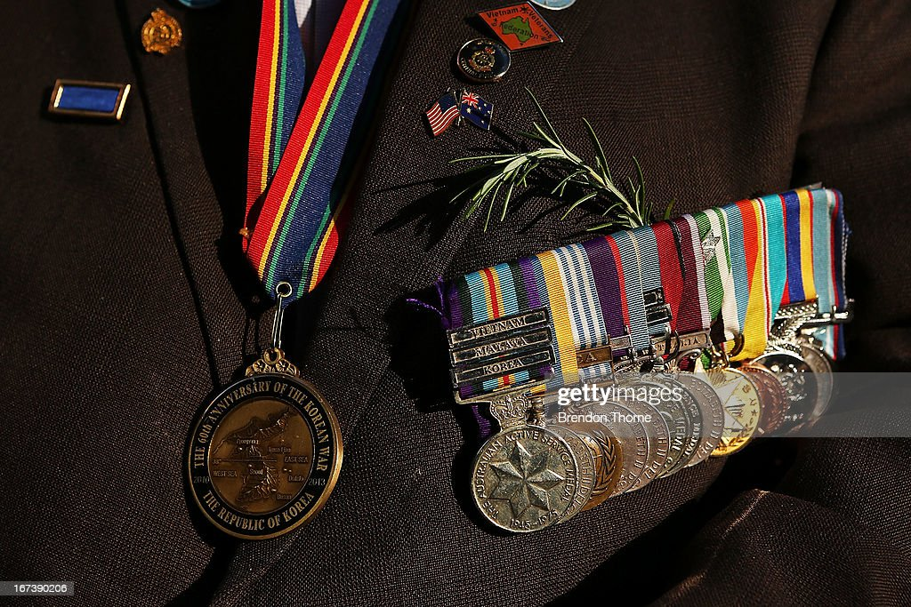 A war veteran's medals are displayed prior to the ANZAC Day parade on April 25, 2013 in Sydney, Australia. Veterans, dignitaries and members of the public today marked the 98th anniversary of ANZAC (Australia New Zealand Army Corps) Day, April 25, 1915 when allied First World War forces landed on the Gallipoli Peninsula. A public holiday in both Australia and New Zealand, commemoration events are held across both countries in remembrance of those who fought and died in all wars.