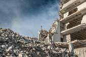 Rubble after building is demolished