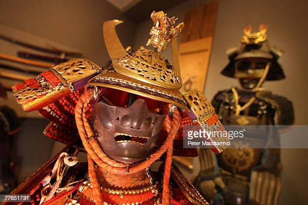 A warabe nooyoroi suit of armour from the Meiji Period is displayed with others at Bonhams auctioneers on November 2 2007 in London England The Fine...