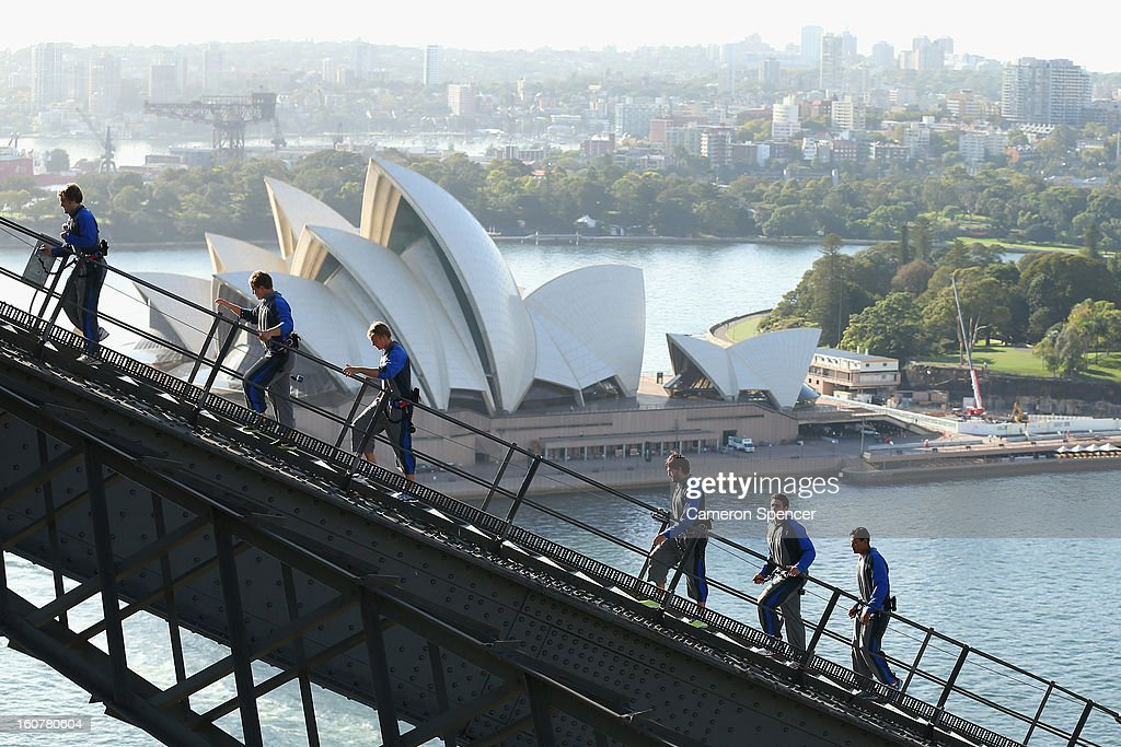 Waratah players climb the Sydney Harbour Bridge during a Waratahs promotional event during their season launch on February 6 2013 in Sydney Australia