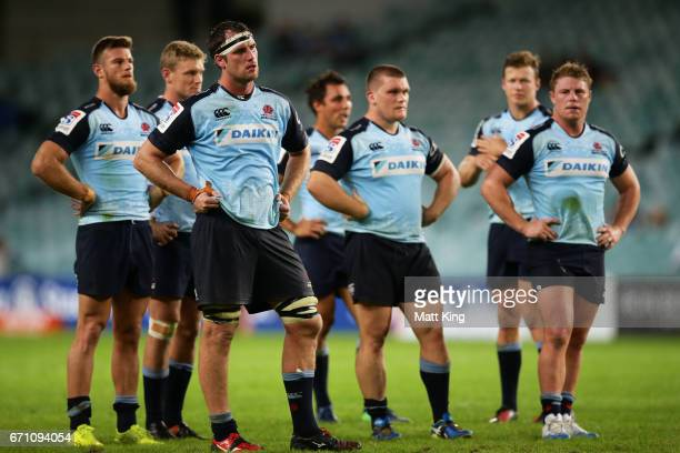 Waratah players look dejected at fulltime during the round nine Super Rugby match between the Waratahs and the Kings at Allianz Stadium on April 21...