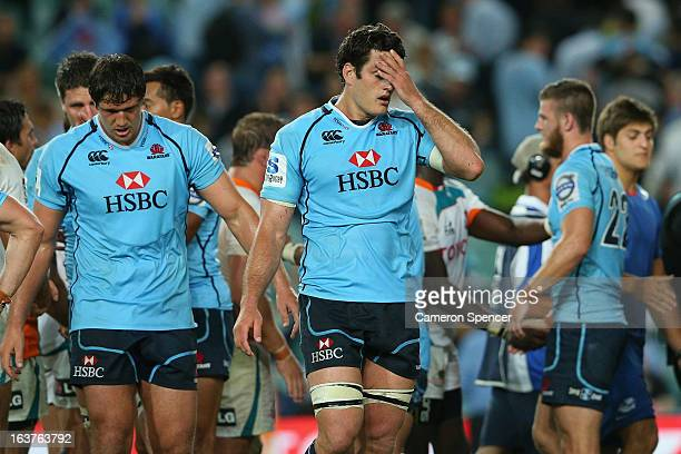 Waratahs captain David Dennis looks dejected after losing the round five Super Rugby match between the Waratahs and the Cheetahs at Allianz Stadium...
