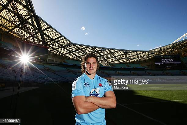 Waratahs captain Michael Hooper poses during the Super Rugby media opportunity at ANZ Stadium on August 1 2014 ahead of the Grand Final match...