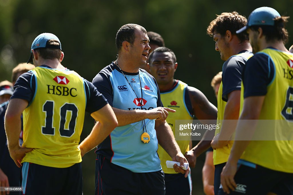 Waratahs head coach Michael Cheika gives instructions to his players during a Waratahs Super Rugby training session at Victoria Barracks on February 18, 2013 in Sydney, Australia.