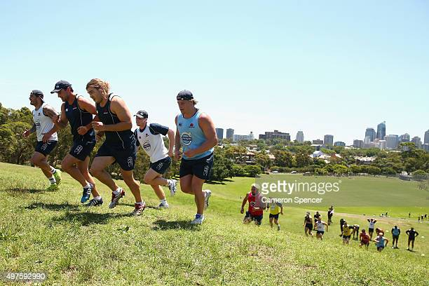 Waratahs players participate in hill sprints during a Waratahs Super Rugby preseason training session at Moore Park on November 18 2015 in Sydney...