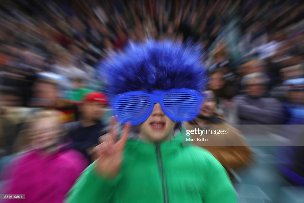 A Waratahs supporter poses during the round 14 Super Rugby match between the Waratahs and the Chiefs at Allianz Stadium on May 27, 2016 in Sydney, Australia.