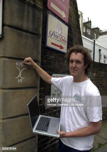 Warchalker Ben Hammersley near his his home in Kensington Business leaders today warned of the dangers of a new computer craze called 'warchalking' *...