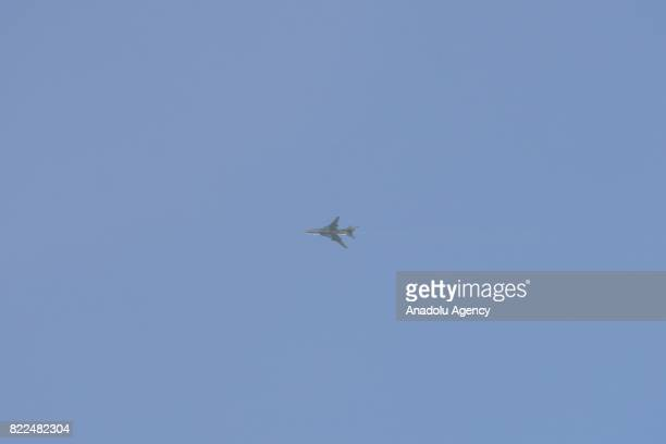 A warcraft belonging to Assad regime forces flies over the region after carrying out airstrikes over the deconflict zone Arbin town of Eastern Ghouta...