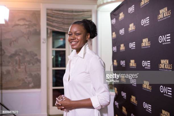 Ward 8 Commissioner Sharece Crawford poses for a photo on the red carpet for TV One's DC Premiere of When Love Kills The Falicia Blakely Story at the...