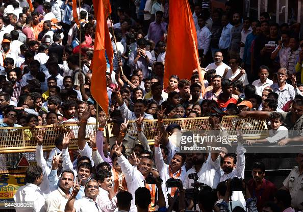 Ward Number 182 Shiv Sena candidate Milind Vaidya celebrates after winning at Dadar on February 23 2017 in Mumbai India The BJP has won 82 of the...