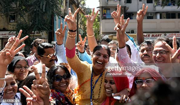 Ward Number 183 Congress candidate Ganga Mane celebrates after winning at Dadar on February 23 2017 in Mumbai India The BJP has won 82 of the...