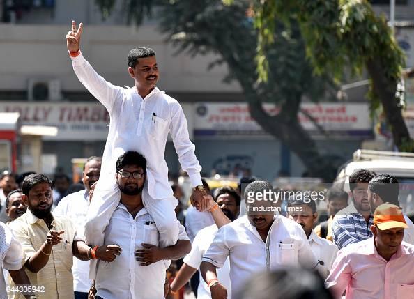 Ward Number 186 Shiv Sena candidate Vasant Nakashe celebrates after winning at Dadar on February 23 2017 in Mumbai India The BJP has won 82 of the...
