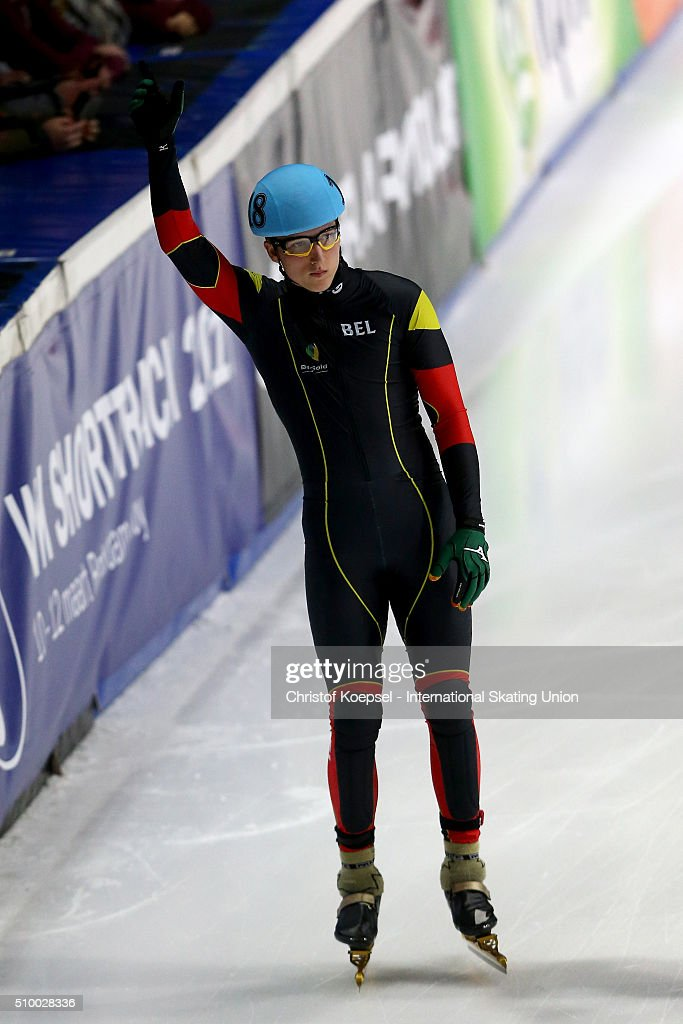 Ward Petre of Belgium prepares to skate prior to the men 5000m relay semi-final first heat during Day 2 of ISU Short Track World Cup at Sportboulevard on February 13, 2016 in Dordrecht, Netherlands.