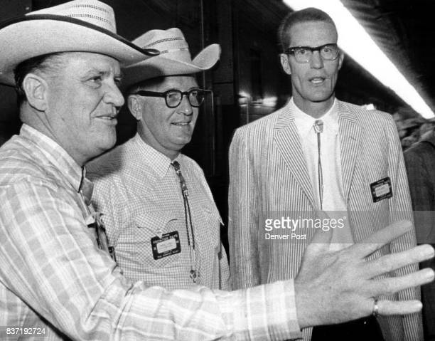 Warden Wayne Patterson of State Penitentiary Revill J Fox Denver advertising executive Joe Coors of Adolph Coors Co Golden Credit Denver Post