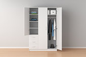 White wardrobe with open doors in interior. 3d render