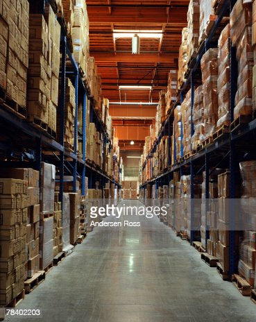 Warehouse aisle : Stock Photo