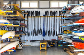 warehouse for storage of boats, canoes and kayaks, paddle
