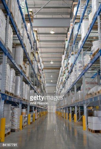 Warehouse shelving aisle. : Stock Photo