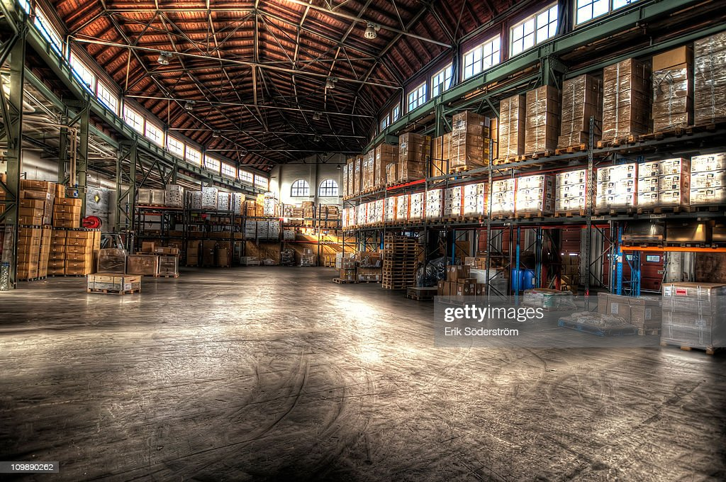 Warehouse Storage Terminal Logistics HDR : Stock Photo