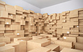 Warehouse with many cardboard boxes - 3d illustration