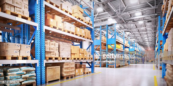 Warehouse with variety of timber for construction and repair. Delivery concept : Foto stock