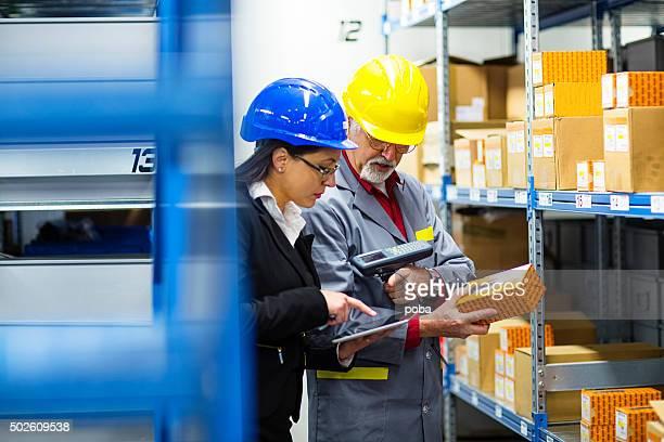 Operaio di magazzino e Iinspector, Controllore, controllo inventario