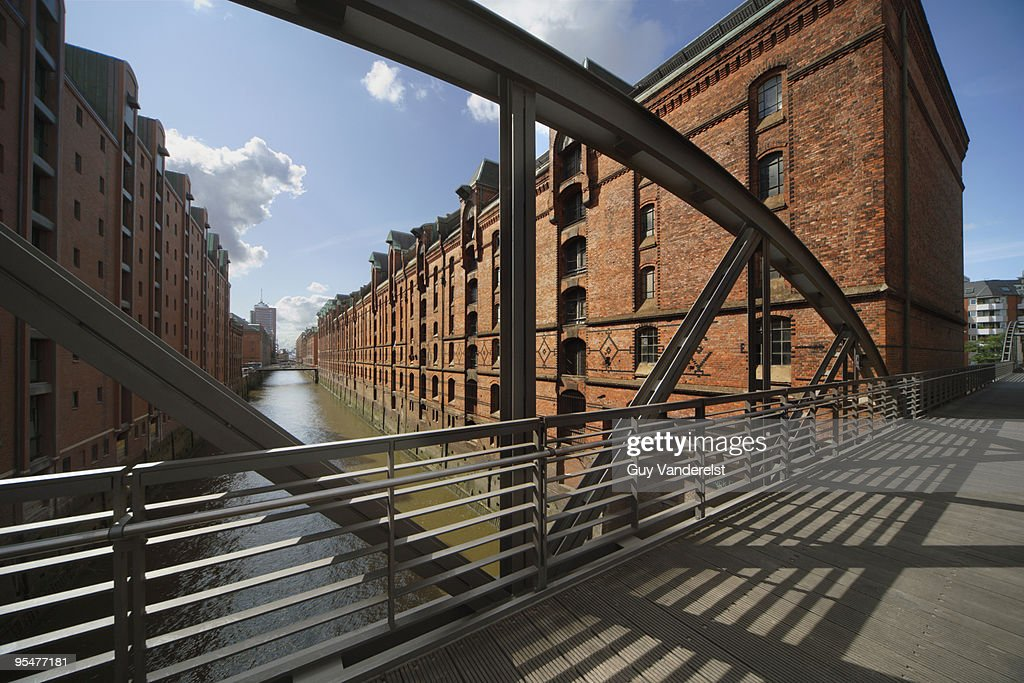 Warehouses and canal in the Speicherstadt, Hamburg : Stock Photo
