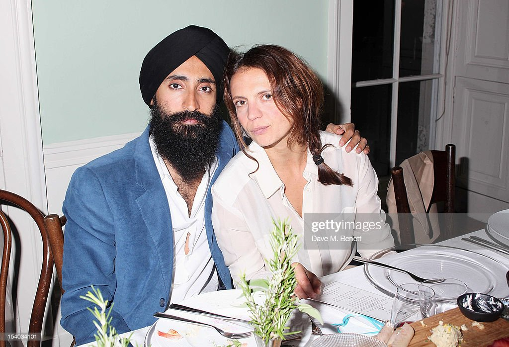 Waris Ahluwahlia (L) and Zoe Wolff attend the Instanbul'74 dinner celebrating artist Sandro Kopp's 'Mediated Presence' exhibtion at 6 Fitzroy Square on October 12, 2012 in London, England.