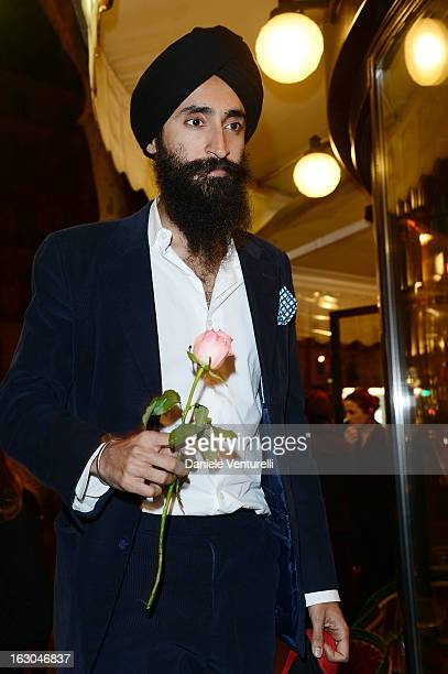 Waris Ahluwahlia attends the Bulgari And Purple Magazine Party at Cafe de Flore on March 3 2013 in Paris France