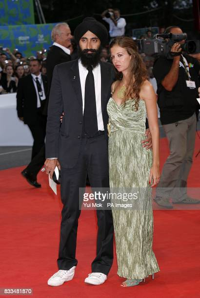 Waris Ahluwalia and Chiara Clemente arrive for the premiere of the film 'The Darjeeling Limited' at the Venice Film Festival in Italy