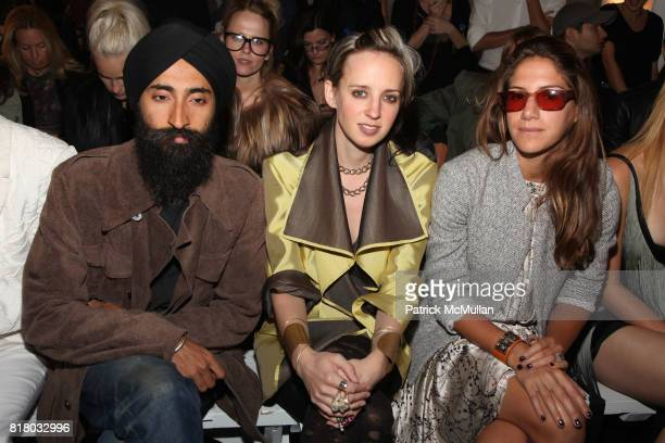 Waris Ahluwalia Hope Atherton and Minnie Mortimer attend ELISE OVERLAND Spring 2011 Fashion Show at 475 10th Ave on September 12 2010 in New York City