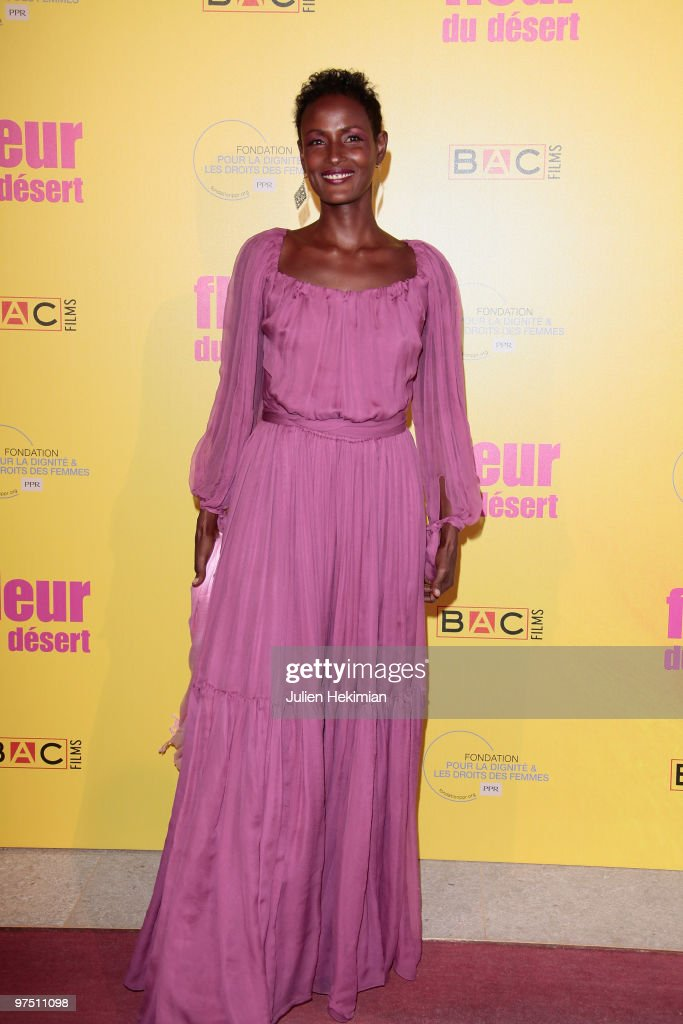 Waris Dirie attends the 'Fleur du Desert' Paris premiere at Theatre Marigny on March 7, 2010 in Paris, France.