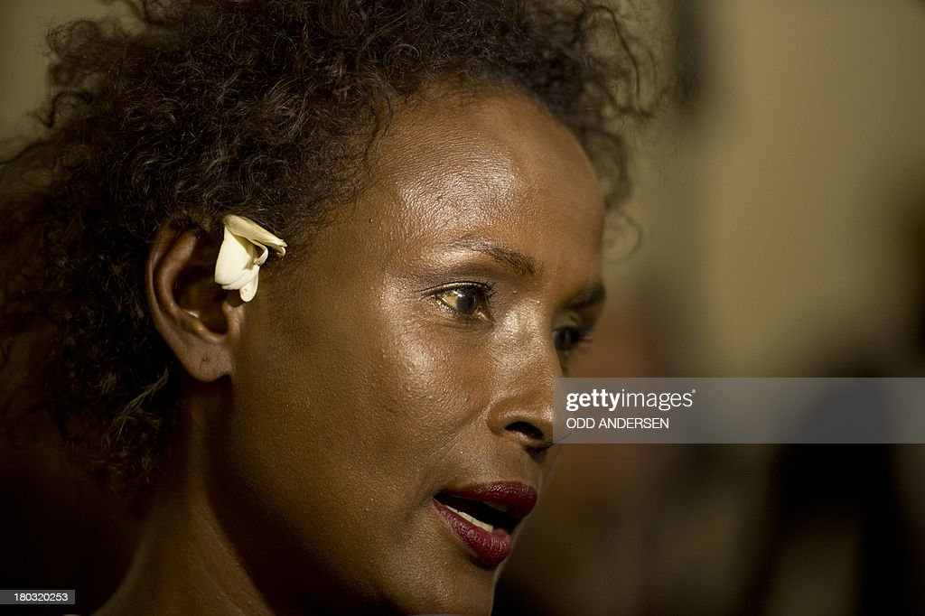 Waris Dirie, model, author, actress and human rights activist of Somali origin speaks to the media at the opening of a hospital ward in Berlin on September 11, 2013