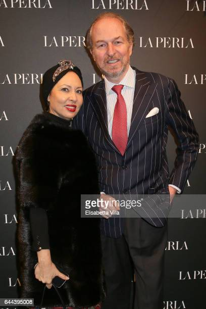 Warly Tomei and Arturo Artom attend La Perla MFW Collection's Presentation and Milan Store Opening during Milan Fashion Week Fall/Winter 2017/18 on...