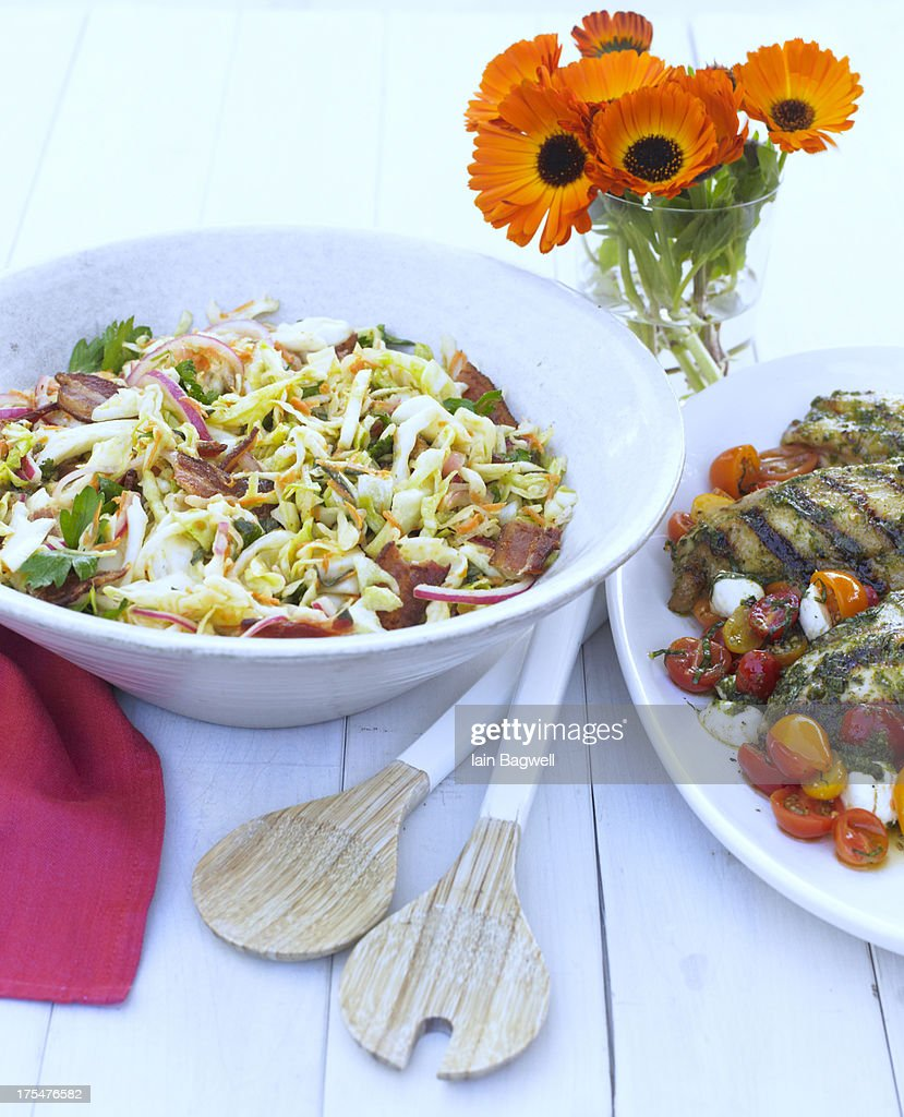 Warm Bacon and Herb Coleslaw : Stock Photo